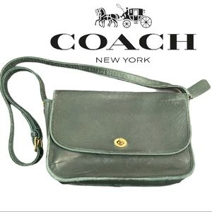 VTG Coach Court Green Leather Crossbody Tote Bag!